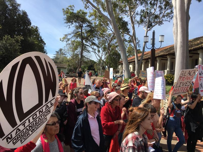 Marchers headed for San Luis Obispo's Mission Plaza.