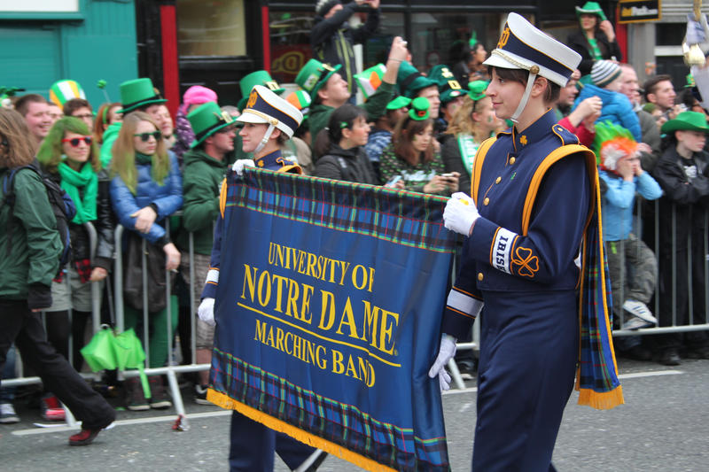 Notre Dame Marching Band in Saint Patrick's Parade, Dublin, Ireland