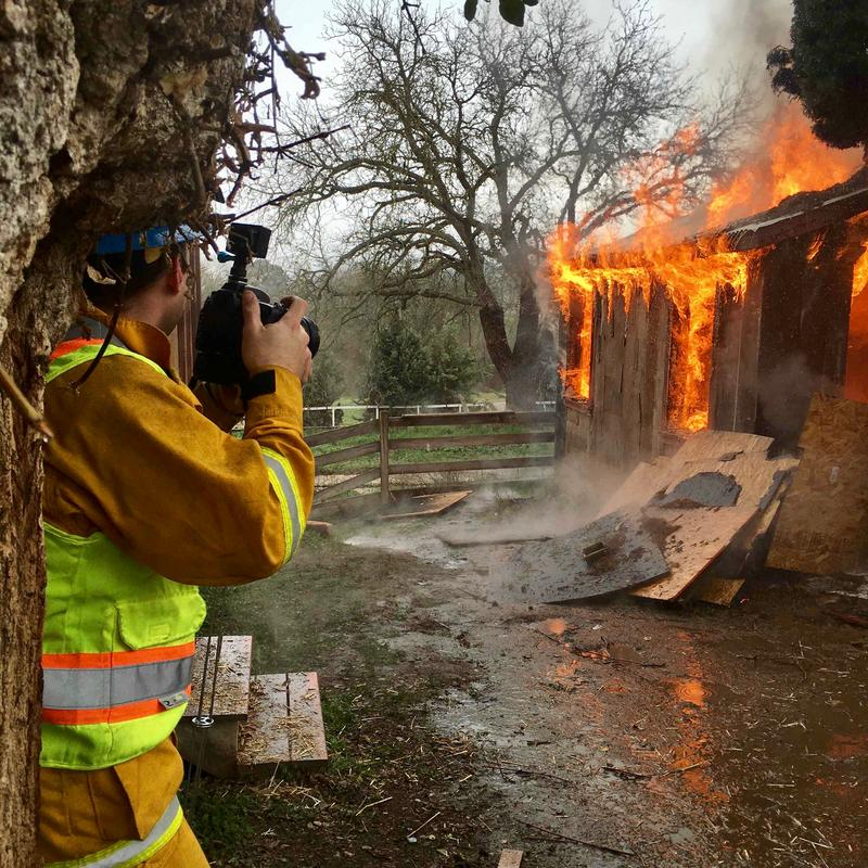 Frank documenting a training fire for San Miguel firefighters in Templeton.