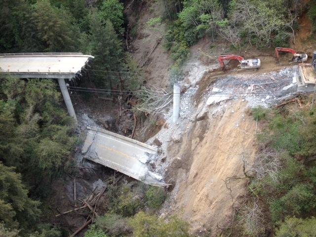 CalTrans crews demolished the bridge's middle section on Saturday.