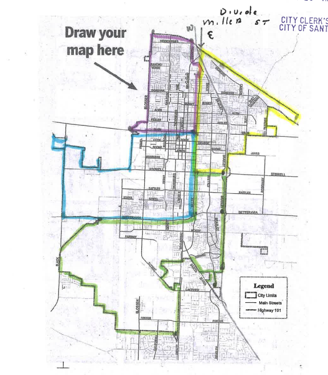A map of the city with redistricting suggestions from a Santa Maria resident,  included on the city's website.