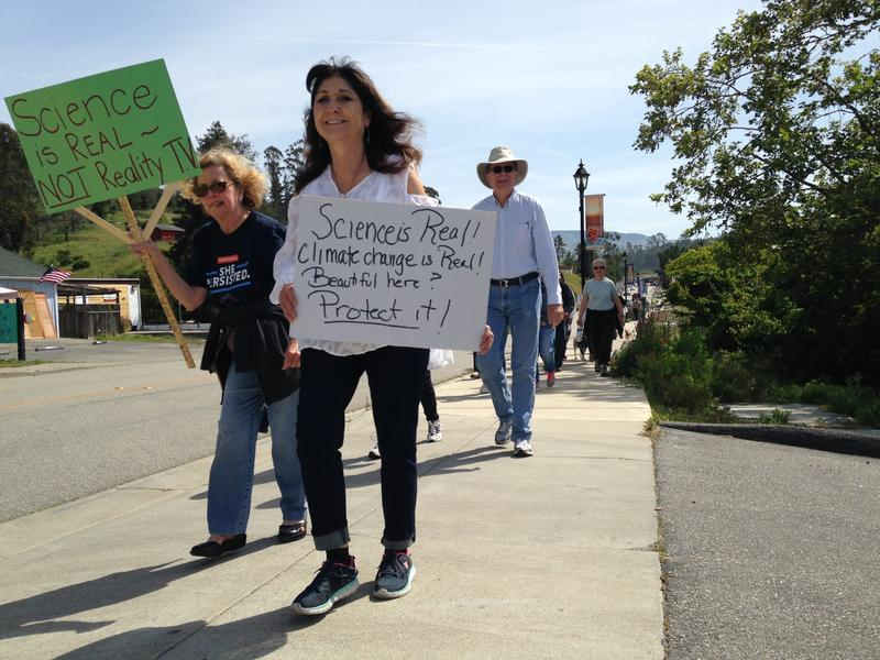 Cambria residents marching for science.