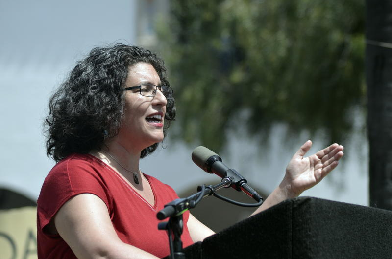 """This is not a Republican or Democratic thing. It's between sanity and insanity,"" says Santa Barbara Mayor Helene Schneider. She spoke Saturday to a crowd gathered at De La Guerra Plaza for the March for Science - Santa Barbara."