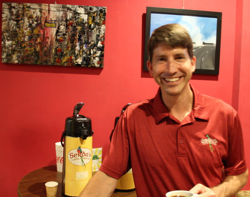John Serda owner of Serda's Coffee Company in downtown Mobile, Alabama