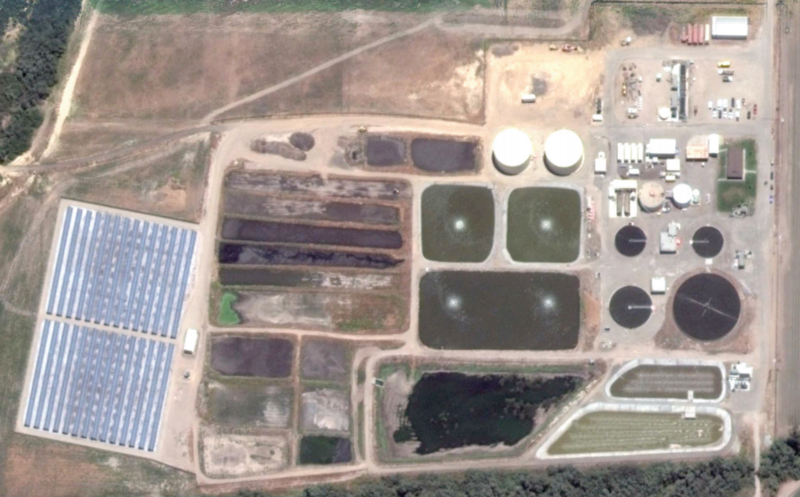 An aerial view of the LCSD treatment plant.
