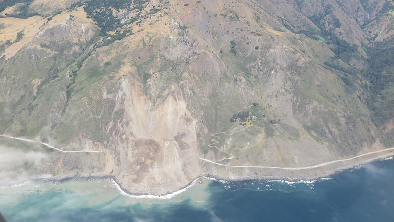 Aerial view of Mud Creek Slide on State Route 1 in Monterey County.