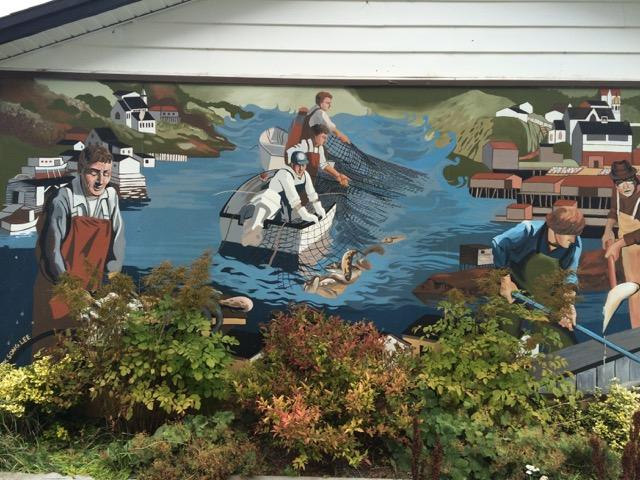 A mural in Petty Harbour showcasing the community's fishing heritage