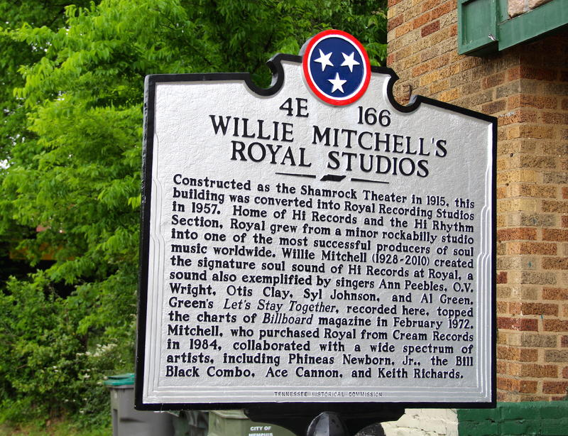 Historic Tennessee State Historical Commission plaque honoring Royal Studios