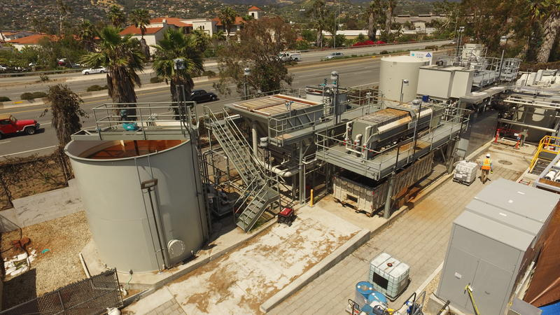 The city's recently-reactivated desalination plant.