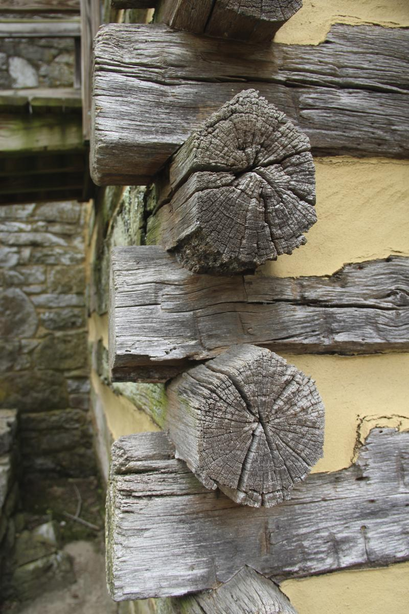 Log cabin joinery detail at Cyrus McCormick's birthplace farm