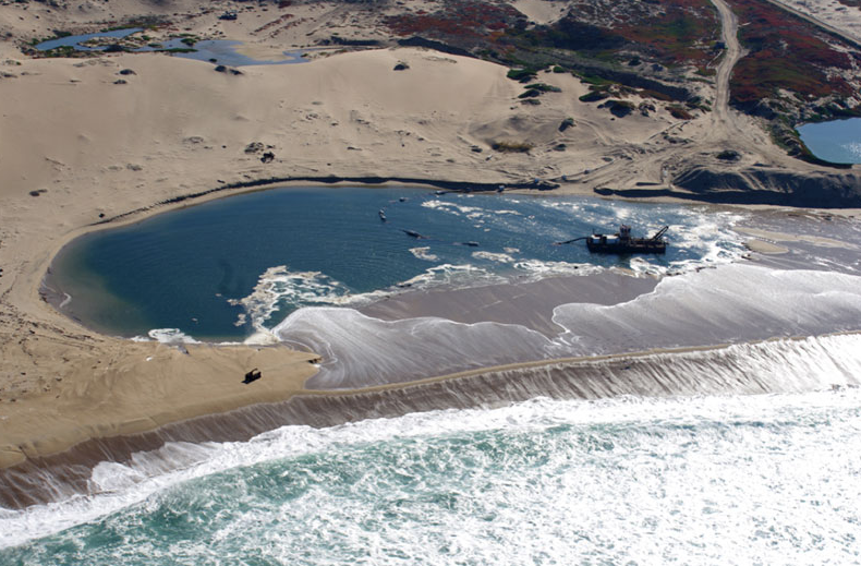 An aerial view of the Cemex Lapis Sand Plant, located eight miles north of Monterey.