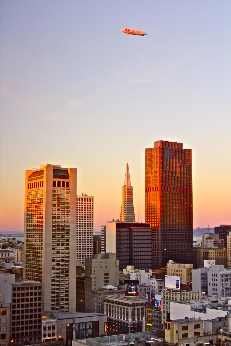 Sunset vista from Parc 55 in downtown San Francisco's Union Square neighborhood