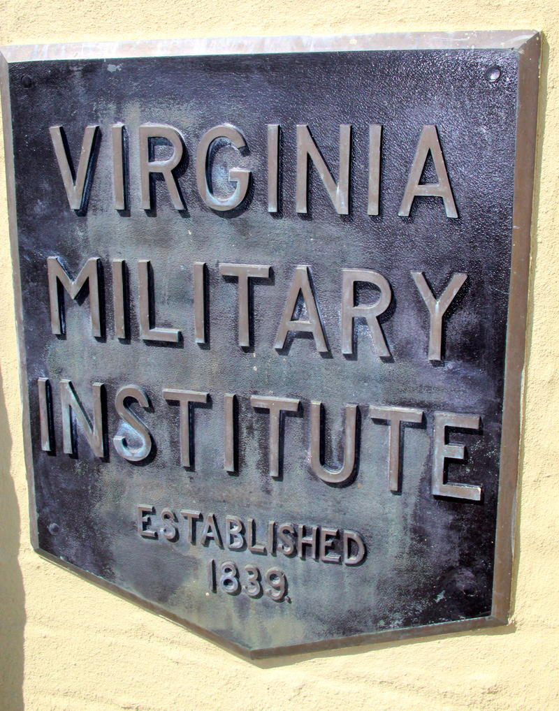 VMI plaque at old entrance to campus