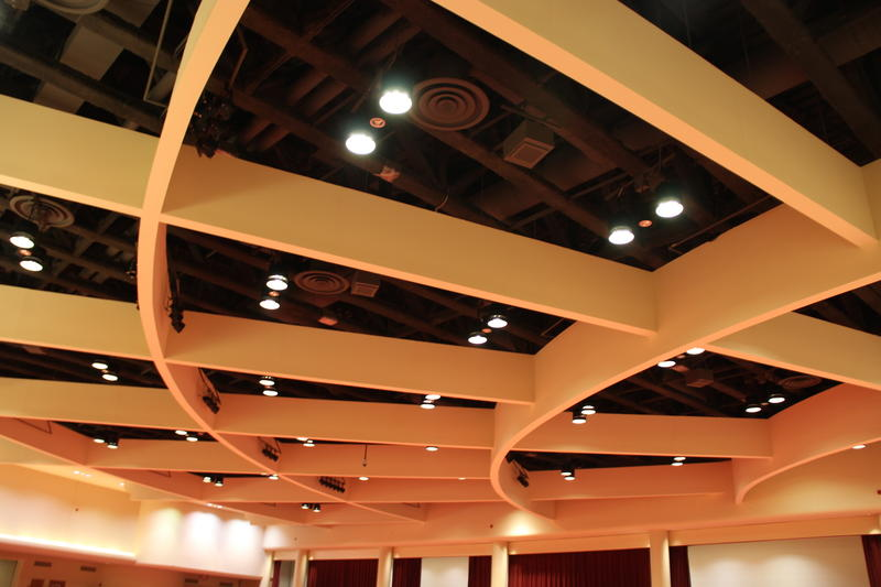 Radius ceiling detail at convention meeting space-- Monona Terrace