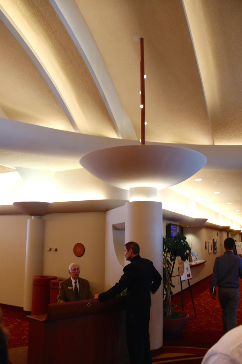 Soaring backlit ceilings at Monona Terrace