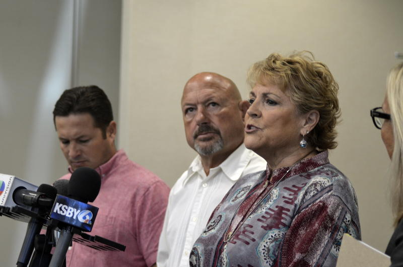 Carty and Sharon Holland speak with their son Corban at a press conference Thursday. Their 36-year-old son, Andrew, died in custody of the San Luis Obispo County Jail in January.