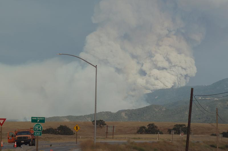 The Whittier Fire burns near Hwy 154.