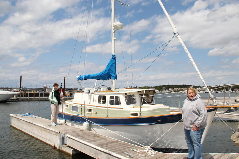 Motor sailboat Parlay at Sturgeon Bay dock