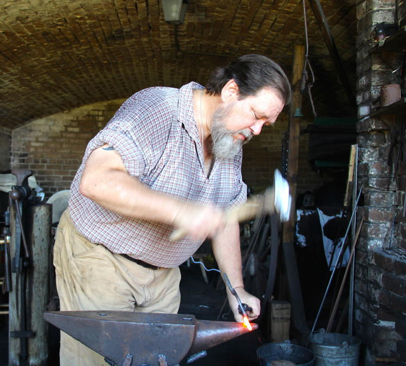 Blacksmith, Ralph Oalmann teaches history through his craft and presentations at Fort Gaines