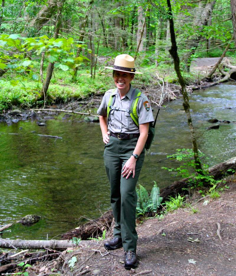 National Park Ranger Jennifer Hale on the trail near Sugarlands Visitors Center