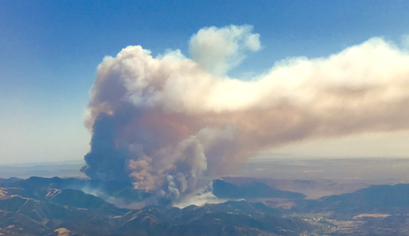 The San Luis Obispo City Fire Dept. tweeted this aerial photo of the Alamo Fire just after 4 p.m.