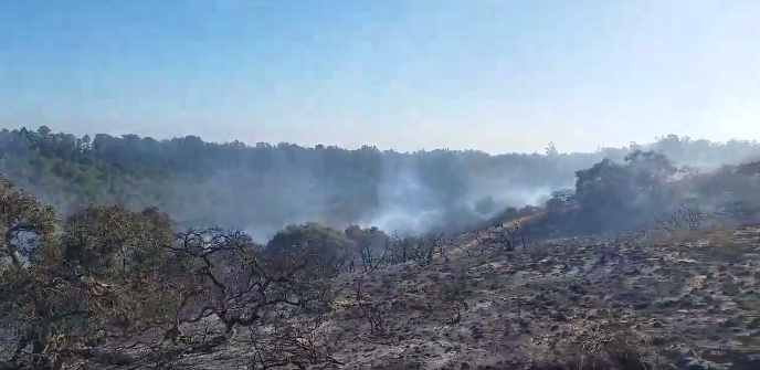 A screenshot of a CalFire video posted on Twitter showing burned areas from the #Zenonfire.