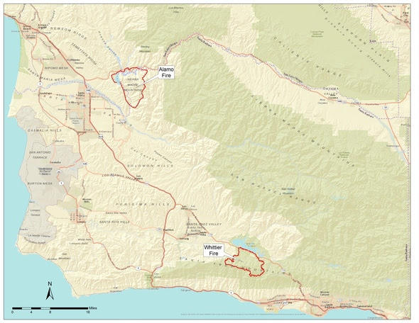 The City of Goleta sent out this map in an emailed fire update Tuesday afternoon.