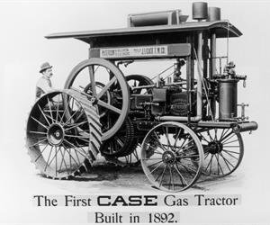 Gasoline powered tractor introduced by Case in Racine in 1892