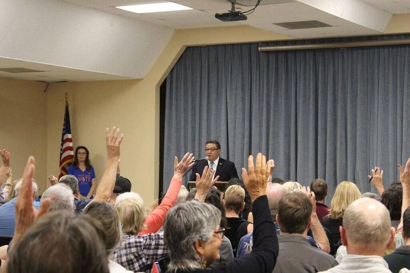 Rep. Salud Carbajal at a recent town hall meeting.
