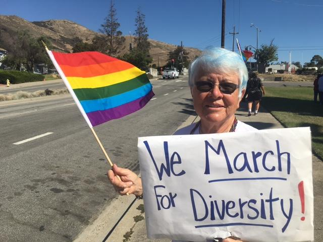 Los Osos resident Carroll Leslie joined the protest.