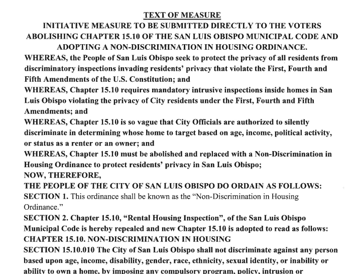 A portion of the measure's text, as found on the city's website.