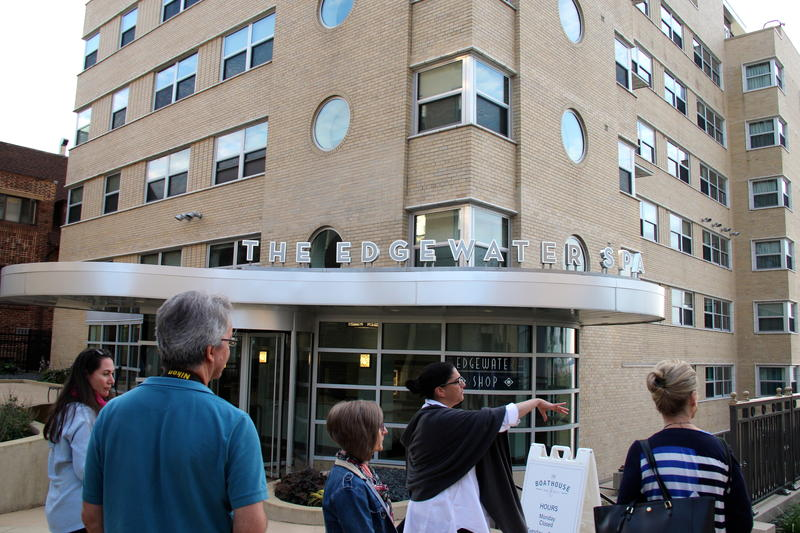 Amy Supple shows guests around The Edgewater Hotel in Madison, Wisconsin