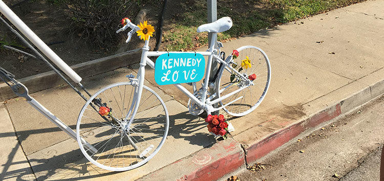 "Bike SLO County placed a ""ghost bike"" in honor of Kennedy Love near where he died."
