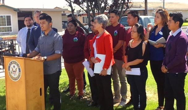 Cal Poly student and DACA recipient Erik Garcia speaks at a press conference calling for the passage of a federal DREAM Act.