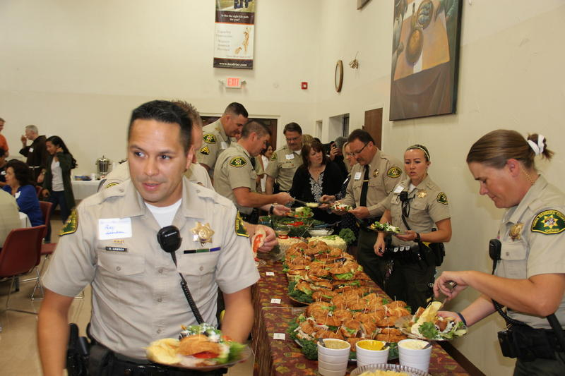 Santa Barbara County Sheriff's line up for luncheon honoring their bravery