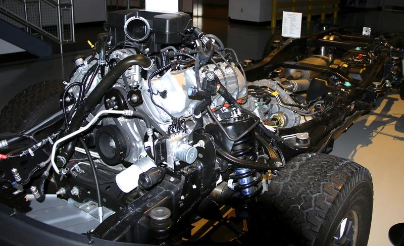 F-150 engine on display at Ford's Rouge Plant
