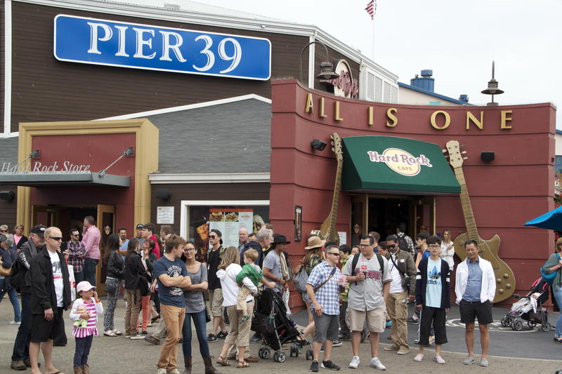 Fisherman's Wharf district's Pier 39 features a Hard Rock Cafe and store