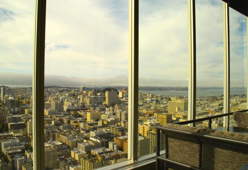 The panoramic vistas from atop the Hilton SF Union Square captures the diverse neighborhoods surrounding.