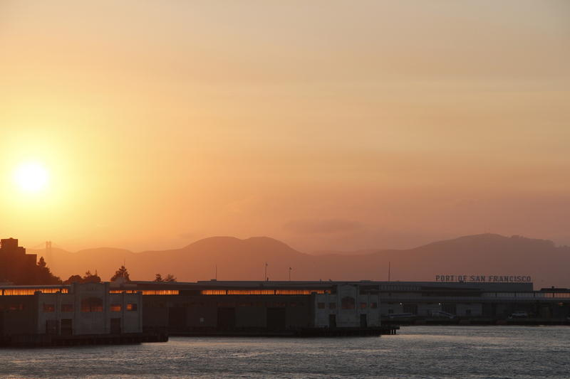 Sunset over the Embarcadero in San Francisco