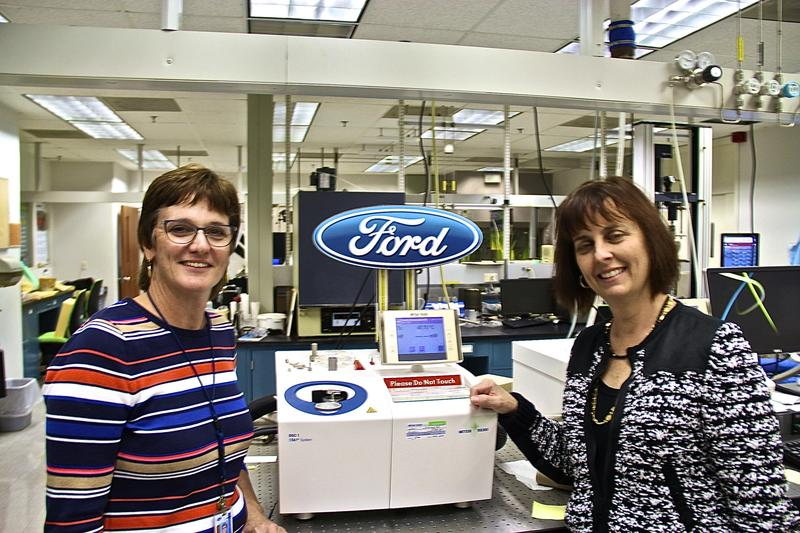 Janice Tardiff (Left) with Debbie Mielewski Ph.D in Ford's Research and Innovation Center lab