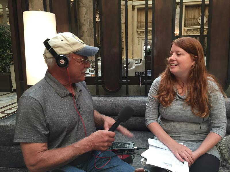 Correspondent Tom Wilmer visits with Rachel Brown with the Fisherman's Wharf Community Benefit District