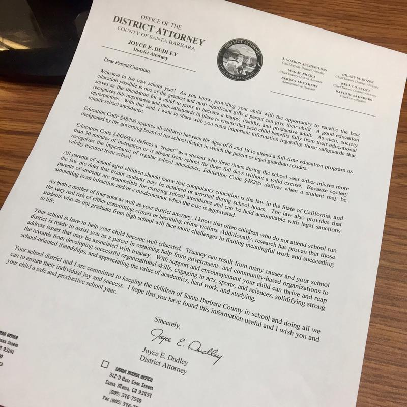 The letter the Santa Barbara County D.A.'s office sends out to all parents at the start of the school year.