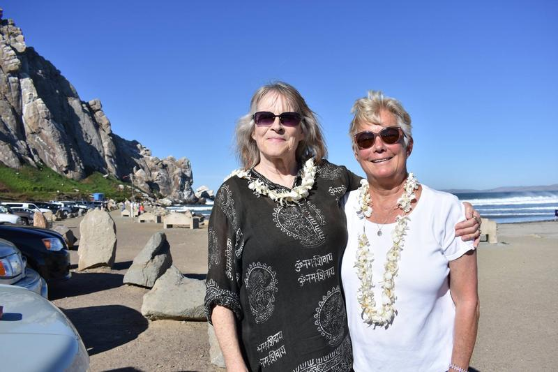 Marge Calhoun (left) and Terry Eselun near Morro Rock.