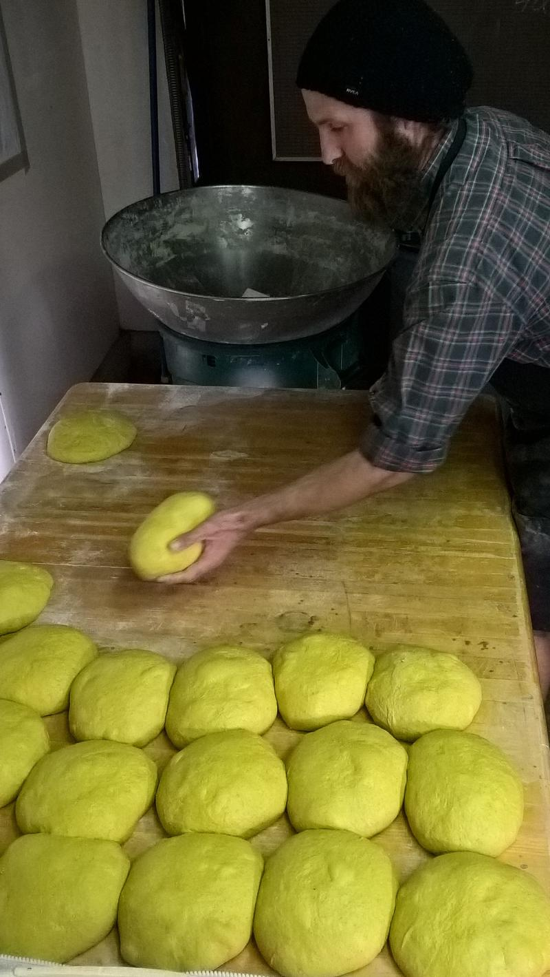 Chris McIntyre of 3 Flies On A Knife prepares his Tumeric Loaves