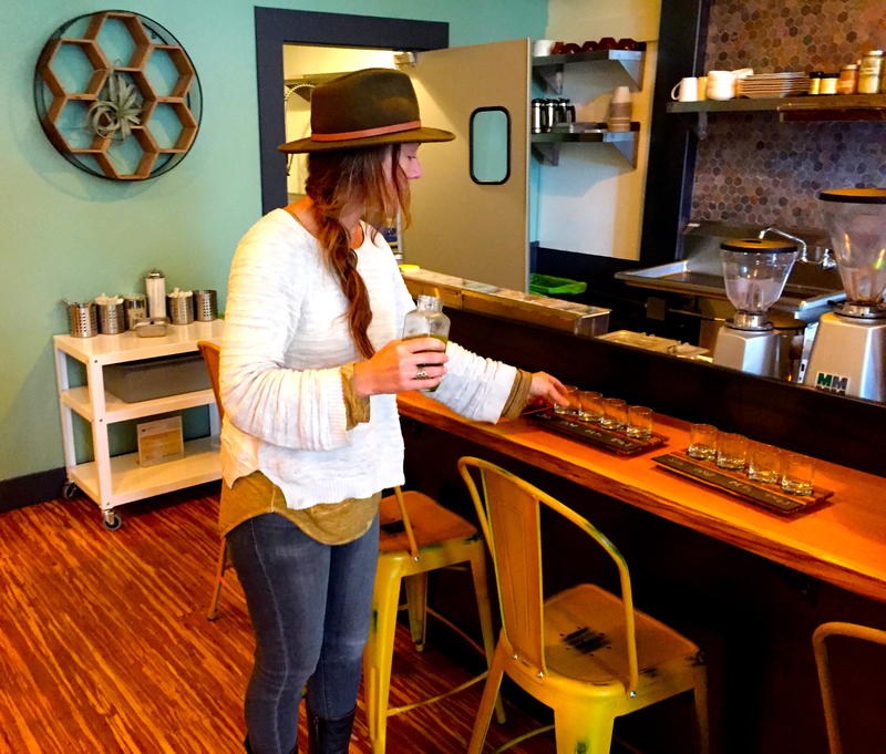 Gia Baiocchi serves up some fresh organic juice at her Nectary in downtown Healdsburg, California