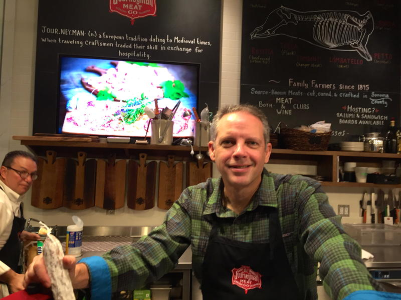Pete Seghesio behind the counter at Journeymen meat Company in downtown Healdsburg, Cailfornia