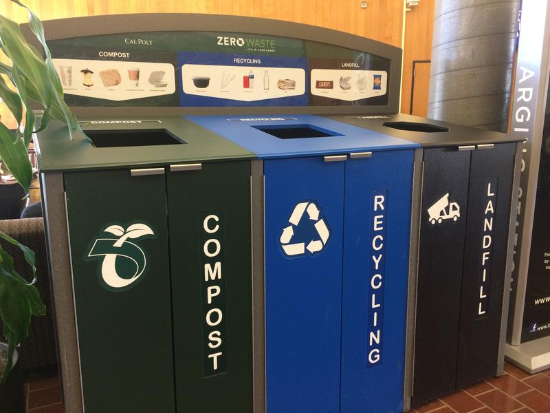 Triple-stream collection bins are now found around campus.