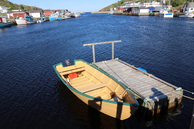 A traditional Newfoundland Dory docked at Leo and Kimberley's stage
