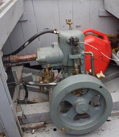 A 1940s Make-and-break engine in Leo's boat named Maggie.