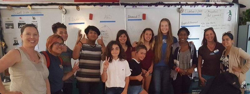 Laguna Middle School Kidz-In-Biz Idea Lab students with MCSC's Arianne Rollinger, Jen Dudley, and Stacey Aragon.